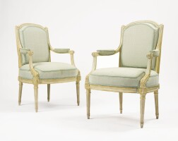 40. a pair of louis xvi grey-painted fauteuils circa 1780, stamped g. jacob