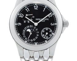 49. patek philippe | reference 5085 a stainless steelwristwatch with date, moon phases, powerreserveindication and bracelet, made in1998