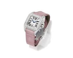 12. 18 karat white gold and diamond 'santos' wristwatch, cartier