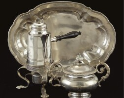 34. a royal german silver chocolate pot on stand, bowl and cover and a dish, hanover, early 19th century and augsburg 18th century
