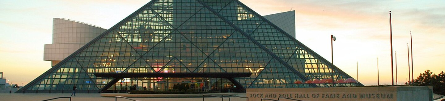 Exterior view of the Rock and Roll Hall of Fame.