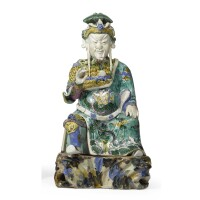 4. a rare chinese famille-rose verte figure of guandi early 18th century