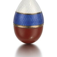 310. a fabergé gold, enamel and purpurine egg pendant, workmaster feodor afanassiev, st petersburg, 1908-1917