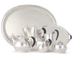 3. a five-piece danish silver cosmos pattern tea and coffee set with matchingtray, no. 45, georg jensen silversmithy, copenhagen, circa 1945-77