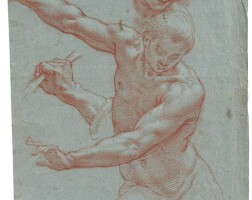 7. cristofano roncalli, called il pomarancio | recto: study of a male nude, with a subsidiary study of a right hand and a headverso: study of a figure, hands clasped in prayer