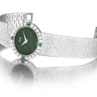 30. piaget   reference 9804 a6 a white gold, diamond and emerald-set bracelet watch with jade dial, made in 1970