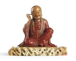 3407. asuperbly carved and rare soapstonefigure ofnagasena 17th century, by wei rufen |