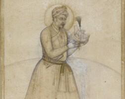 209. emperor akbar holding the royal turban of humayun, mughal, shah jahan period, circa 1630-50
