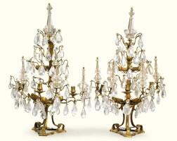 7. a pair of gilt-bronze, rock crystal and cut glass girandoles, louis xv  