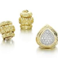 41. diamond ring and a pair of ear clips, david webb