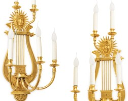 5. a pair of gilt-bronze wall-lights, possibly russian, early 19th century |