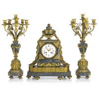 529. a french louis xvi-style gilt bronze mounted marble mantel clock garniture circa 1860