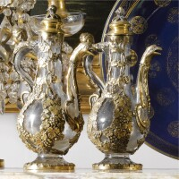 1. a pair of gilt-bronze-mounted enamel ewers in venetian baroque style, 19th century