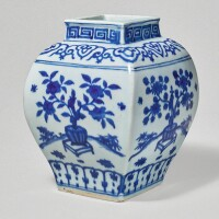 502. a rare blue and white square-form 'floral' jar jiajing mark and period |