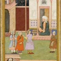 43. an illustration to the akhbar-i barmakiyan,mansur brought before yahya barmaki, india, mughal, circa 1595-1600