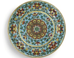 3406. an extremely rare cloisonne enamel 'lotus' dish mark and period of jingtai |