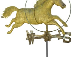 1777. molded and gilt copper horse and hoop weathervane, attributed to a.l. jewell & co., waltham, massachusetts, circa 1860 |
