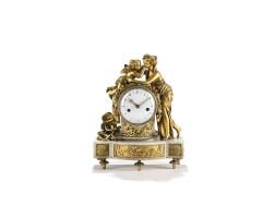 35. a french louis xvi ormolu and marble sculptural mantel clock, last quarter 18th century