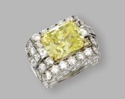 188. platinum, gold and fancy intense yellow diamond ring