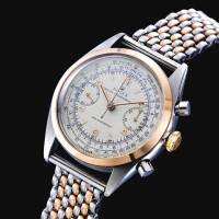 253. 勞力士(rolex) | 4500型號「monobloc」罕有精鋼及粉紅金抗磁計時鍊帶腕錶備測距儀及測速計刻度,年份約1960。