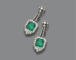 313. pair of emerald and diamond pendant-earclips, circa 1935