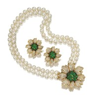25. emerald, diamond and cultured pearl necklace and matching earclips, giovane