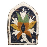 127. a cuerda seca earthenware tile, gaur, bengal, 15th century