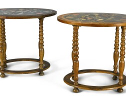 251. a pair of italian walnut occasional tables with scagliola tops, mid 19th century, the tops possibly early 18th century |