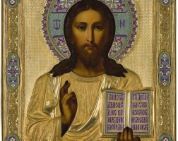554. a silver-gilt and cloisoneé enamel icon ofchrist pantokrator, moscow, 1891 |