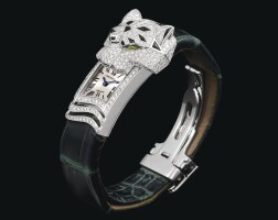 2158. cartier | white gold, onyx and tourmaline-set wristwatch with concealed dialref 3058 case 126423nx panthère secrète de cartier circa 2009