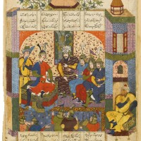 134. an illustrated and illuminated leaf from a manuscript of firdausi's shahnameh: rustam reporting his victory to kay khosrow, persia, safavid, qazvin or mashhad, 988 ah/1580 ad