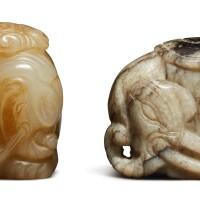 1238. 十九 / 二十世紀 玉雕吉象把件兩件 |