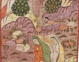 47. an illustration from a series on divination and omens (falnamah): majnun spying layla, india, mughal, circa 1580