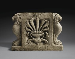 39. a roman marble bench support, circa 1st century a.d. | a roman marble bench support