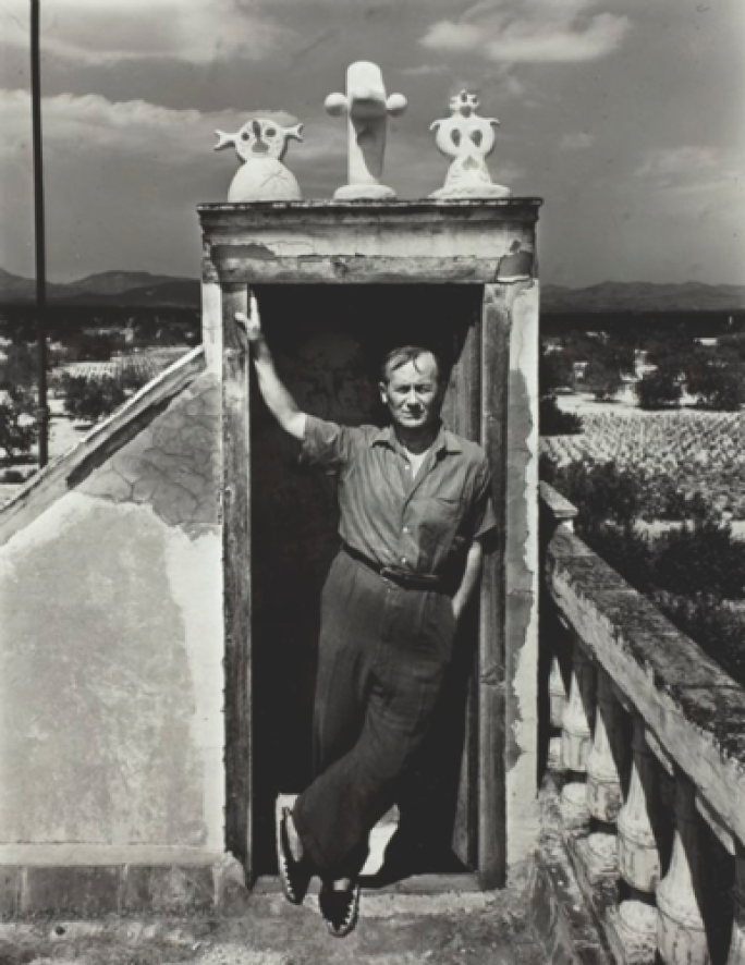 Joan Miró on his studio roof, Montroig, Spain in 1948, photograph by Irving Penn © 2018 Successió Miró : Artists Rights Society (ARS), New York : ADAGP, Paris.png