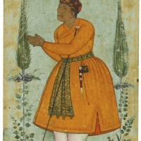 15. a standing portrait of a courtier, probably raja man singh of amber, attributable to bishandas, mughal, circa 1595-1600