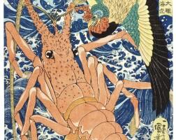 4. utagawa kuniyoshi (1797–1861)phoenix and lobster (taiho ebi) edo period, 19th century | phoenix and lobster (taiho ebi), from the series birds and beasts (kinju zue), edo period, circa 1839–1841