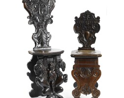 15. two italian carved walnut sgabelli 17th/18th century and later