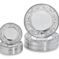16. a set of eighteen american silver dinner plates and eighteen bread plates, gorham mfg. co., providence, ri, 1914-19 |