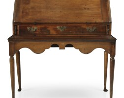 336. a queen anne carved and turned cherrywood slant-front desk on frame, new england, circa 1720 |