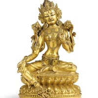 3649. arare gilt-bronze figure of green tara mark and period of yongle |