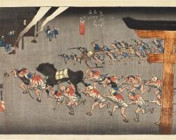 12. utagawa hiroshige i (1797–1858)miya: festival of the atsuta shrine (miya, atsuta shinji) edo period, 19th century | miya: festival of the atsuta shrine (miya, atsuta shinji), from the series fifty-three stations of the tokaido road (tokaido gojusan tsugi no uchi), edo period, circa 1833–34