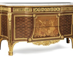 16. henry dasson (1825 - 1896)agilt-bronze mounted marquetrycommode after a model by jean-henri riesener,late 19th century |