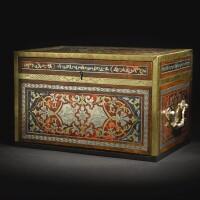 14. 德國黃銅、錫鑞、紅色玳瑁及藍染牛角玳瑁胎細工嵌入黃銅,配蛇紋木及黑檀木獎牌櫃 約翰·普赫維澤製造,附簽名,約1710年 |