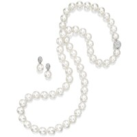 1607. cultured pearl long necklace and pair of matching pendent earrings