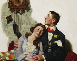 33. norman rockwell | courting couple at midnight