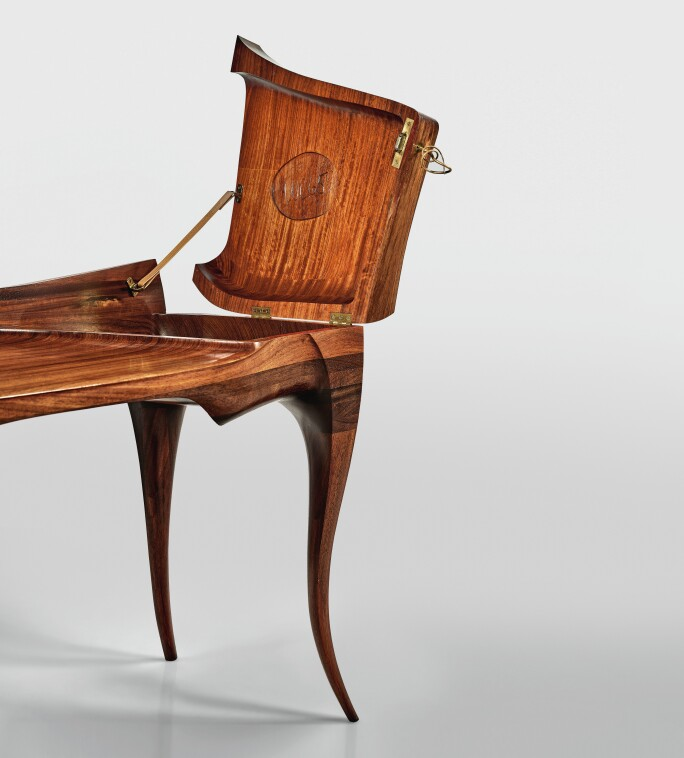 """Wendell Keith Castle, AN IMPORTANT """"VERMILLION"""" DESK AND CHAIR, 1965. Estimate $200,000–300,000."""