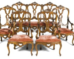731. a set of four mid 18th century venetian stylearmchairs