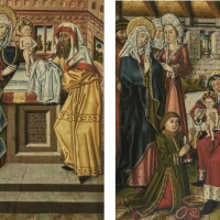 105. south german school, 15th century | the circumcision;the presentation in the temple