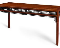 103. a rare huanghuali ebony-inset painting table, huazhuo qing dynasty, 18th century |